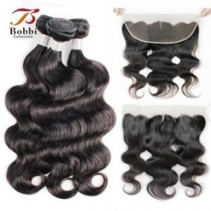 3 bundle with frontal lace closure, Brazilian Body wave
